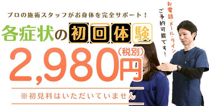 各症状の初回体験2,980円(税別)