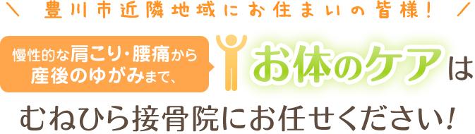 豊川市近隣地域にお住いの皆様!慢性的な肩こり・腰痛から産後のゆがみまで、お体のケアはむねひら接骨院にお任せ下さい!